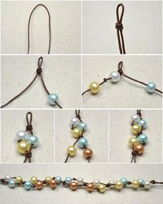 This DIY jewelry tutorial is going to show you how to make four-colored floating pearl necklace with simple knotting techniques. by diy jewelry inspiration Leather Jewelry, Wire Jewelry, Jewelry Crafts, Beaded Jewelry, Jewellery Diy, Jewlery, Initial Jewelry, Jewellery Shops, Jewelry Holder