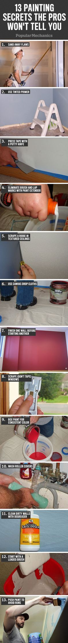 Painting Secrets the Pros Won't Tell You Each painter has slightly different methods and preferences, but the pros all know the trade secrets.Each painter has slightly different methods and preferences, but the pros all know the trade secrets. Painting Tips, House Painting, Painting Walls, Spray Painting, Painting Cupboards, Painting Baseboards, Interior Painting, Home Improvement Projects, Home Projects