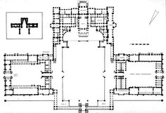 Plan of Blenheim Palace with inset of the plan of Versailles for comparison. Woodstock, Oxfordshire, England