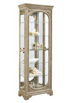 half round curio cabinet in platinum silver/goldpulaski - home