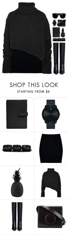 """Monochrome: All Black Everything // 28.10.17 // 13:10"" by theonlynewgirl ❤ liked on Polyvore featuring TravelSmith, Movado, Tina Frey Designs, Boohoo, Pols Potten, Ann Demeulemeester, Valentino, Lemaire, ZeroUV and monochrome"