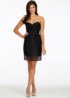Bridesmaids and Special Occasion Dresses by Jim Hjelm Occasions - Style jh5419.........Black organza bridesmaid dress, strapless sweetheart gathered neckline, natural waist.