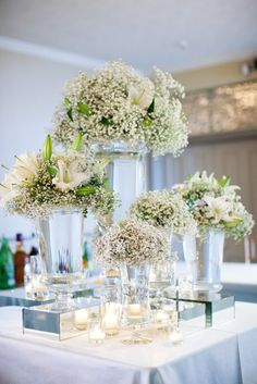 baby's breath wedding decorations for the centerpieces Decoration Buffet, Centerpiece Decorations, Wedding Centerpieces, Wedding Table, Wedding Decorations, Decor Wedding, Wedding Reception, Wedding Ideas, Modern Centerpieces