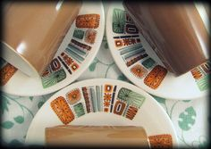 4 Mid Century Duos Retro Palissy Aztec Coffee Brown by keepsies