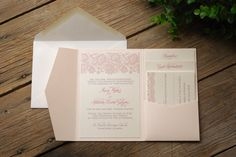 Lace Wedding Invitation - Pink and Ivory with Inserts and Pocket Folder. $7.25, via Etsy.