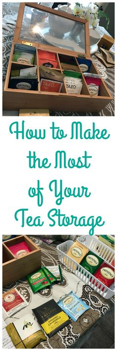 Group individual tea bags into groups in your caddy, dividers or jars (chamomiles with chamomiles, chais with chais etc.) Organize your tea caddy, dividers, or jars back into your cupboard and arrange them along the perimeters of the cabinet, so that there is a space in the middle.