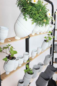 white plastic bottle planters