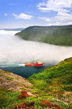Ship entering the Narrows of St John's harbor from Signal Hill in Newfoundland, Canada