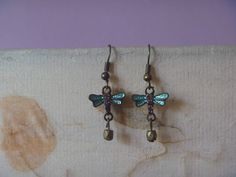 blue and bronze dragonfly earrings ecofriendly dragonfly
