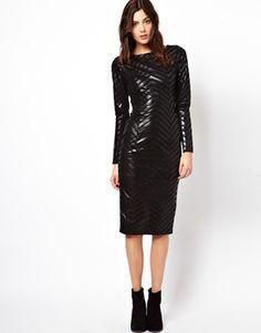 ASOS Chevron Leather Midi Dress
