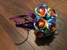Amazing Rainbow Ribbon Rose Wedding Bouquet by CuriousPetals