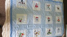 A quilt made with the Snowman quilting blocks