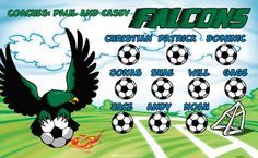 Falcons-47299-2  digitally printed vinyl soccer sports team banner. Made in the USA and shipped fast by BannersUSA. www.bannersusa.com