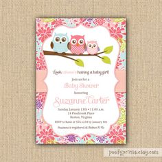 Owl Baby Girl Shower Invitations - DIY Printable Invitations. $24.00, via Etsy.