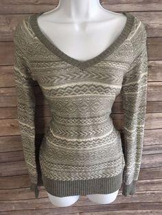 SO AMERICAN HERITAGE  Women's Sweater Size Small Gray Winter Crew Neck  #SO #Crewneck #ebay
