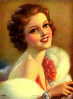 Oil Painting by Jules Erbit Vintage Glamour, Vintage Beauty, Vintage Ladies, Vintage Prints, Vintage Posters, Vintage Art, Pinup Art, Vintage Redhead, Art Nouveau