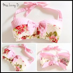 Pin Up Pink Gingham Floral Print Shabby Chic Pin Up by MissLizzyD
