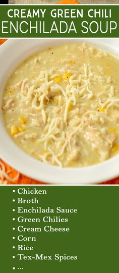 Crockpot Creamy Green Chile Enchilada Soup Recipe The flavors of green chiles, chicken and creamy, cheesy goodness comes together perfectly with Tex-Mex Spices. The recipe includes slow cooker and stovetop instructions. Crock Pot Soup, Slow Cooker Soup, Crockpot Chicken Enchilada Soup, Enchilada Casserole, Green Chili Enchiladas, Green Chili Chicken, Quick And Easy Soup, Snacks Sains, Easy Soup Recipes