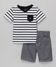 Another great find on #zulily! Black & White Stripe Tee & Gray Shorts - Infant, Toddler & Boys by Calvin Klein Jeans #zulilyfinds