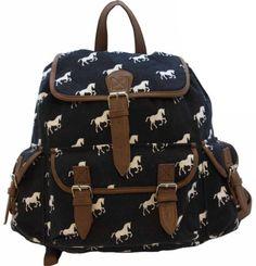 Ladies Large Tapestry Horse Canvas Backpack Rucksack Handbag Work School Beach Bag Beige Navy Blue with Brown Trim (Horses on Navy Blue / Brown Trim) - http://buyshoe.eu/ladies-large-tapestry-horse-canvas-backpack-rucksack-handbag-work-school-beach-bag-beige-navy-blue-with-brown-trim-horses-on-navy-blue-brown-trim.html