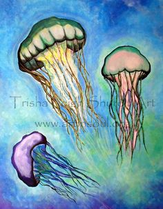 Art Print Open Edition Jellyfish study by ArtInSoulorg on Etsy