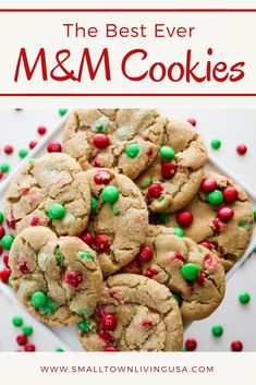 This chewy M&M Cookies recipe is so delicious. You can use the regular size M&Ms or the minis. Our favorite is Christmas M&M cookies because you can use red and green M&Ms. They are super soft and eas M&m Christmas Cookies Recipe, Holiday Cookie Recipes, Holiday Cookies, Holiday Baking, Christmas Desserts, Christmas Treats, Christmas Baking, Best M&m Cookie Recipe, Christmas Parties