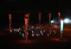 A general view of atmosphere during the Opening Ceremony of the Sochi 2014 Winter Olympics at Fisht Olympic Stadium on February 7, 2014 in S...