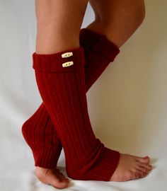 Machine knit red leg warmers with button chunky leg by bstyle, $26.00