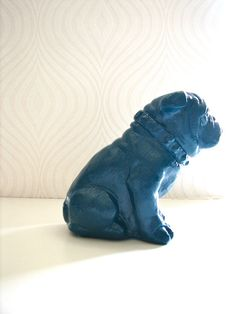 English Bulldog Animal Statue in peacock blue Home by mahzerandvee, $46.00