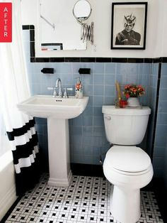 Not the color or shape tiles I would use, but I like the black accents that reflect the decor of the age of the home