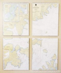 Ever since I was a youngster drawing countries for my book reports, I've had a fascination with maps. That fascination carries over into de. Whale Themed Nursery, Nautical Theme Nursery, Nautical Bedroom, Nautical Pictures, Nautical Chart, Beach Crafts, Diy Crafts, Nautical Wedding, Map Art