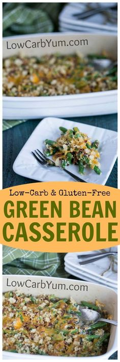 A low carb gluten free green bean casserole that doesn't use canned soup as a base. Sour cream, cheese, and bacon are added to enhance the flavor.   http://LowCarbYum.com