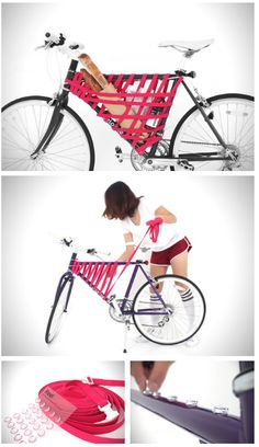 San Francisco based Areum Jeong has teamed up with Yeongkeun Jeong to develop their innovative Reel elastic bike frame storage system, allowing for complete customization for riders. The system uses sticky rubber dividers, creating different wrapped patterns for any situation. This is perfect for transporting things like groceries, gym equipment, and any other essentials you can think of. Seeing that the system is customizable, you can implement Reel on literally any bike frame.