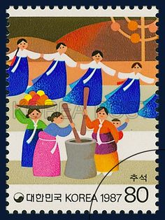 POSTAGE STAMPS FOR FOLKWAYS,  SERIES(Ⅳ), chuseok, traditional culture, blue, white, orange, 1987 09 10, 민속시리즈(네번째묶음), 1987년 09일 10월 1514, 추석, postage 우표