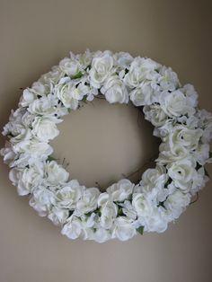 Easter Wreath, White Wreath, Spring Wreath, Summer Wreath, Front Door Wreath, Rose Wreath, Silk Flower Wreath, Door Wreath, Wedding Wreath by WaukeeCreations on Etsy