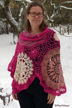 Pink Crocheted Shawl Combining New Lace with by MianVirkkuut