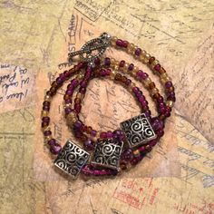 Purple Yellow & Silver  Beaded Wrap Bracelet by DungleBees on Etsy, $24.99