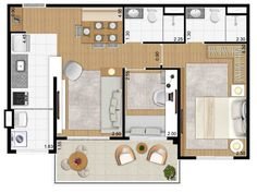 Studio Type Apartment, Studio Apartment Floor Plans, Apartment Plans, First Apartment, Apartment Design, Tiny House Plans, House Floor Plans, Lofts, Room Interior