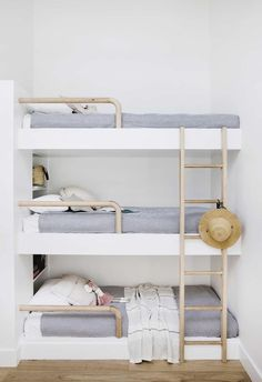 "40 Cute Triple Bunk Bed Design Ideas For Kids Rooms To Have - Many of us who grew up in the ""old days"" have very fond memories of life in bunk beds. Whether you shared your room with your brother or sister or fir. Triple Bunk Beds, Bunk Beds Built In, Cool Bunk Beds, Kids Bunk Beds, Bunk Bed Ladder, Custom Bunk Beds, Bunk Bed Plans, Bunk Bed Rooms, Deco Kids"