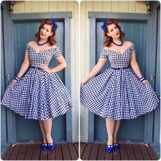 30-Verano mujeres s vintage 50 s gingham fuera del hombro barco cuello swing vestido rockabilly pinup vestidos de talla grande vestido de jurken robe