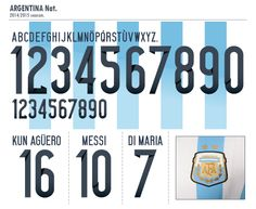 Football teams shirt and kits fan: Font Argentina World Cup 2014