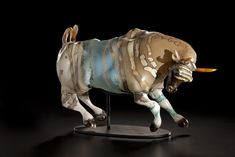 Becoming the Bull, 2011 | Menagerie Series | Shelley Muzylowski Allen | Blown  Hand-Sculpted Glass, Human Hair, Mixed Media, Steel | Photo by Russell Johnson