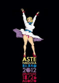 """El cartel """"Marylinjaia"""", obra del bilbaíno Peru Isasi Sarria será el encargado de anunciar la Semana Grande bilbaína 2012."""