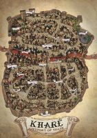 One of my first map drawings. The legendary Kharé - Cityport of traps from Steve Jacksons Sorcery! book Khare - Cityport of traps Fantasy Map Making, Fantasy City Map, Fantasy Town, Fantasy World Map, Medieval Fantasy, Illustrations, Book Illustration, Dcc Rpg, Castle Layout