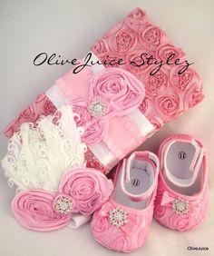 Baby Pink Rosette Set Infant Shoes