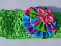 Lime Neon Green with Pink Flower Crochet children's by SursyShop, $5.00