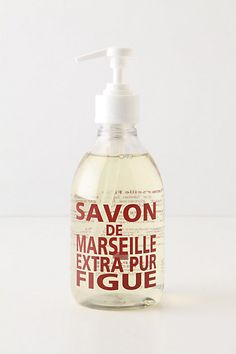 Savon De Marseille Hand Soap at Anthropologie-- looking for a vintage inspired bottle for coastal chic guest bath