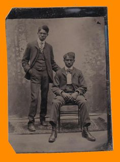 TIN TYPE OF 2 YOUNG AFRICAN AMERICANS OF THE MID 19TH CENTURY