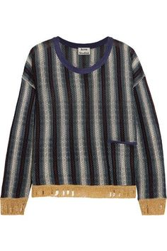 Acne Studios - Blanca Distressed Striped Knitted Sweater - Navy - medium