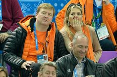 10 FEBRUARY 2014 King Willem-Alexander and Queen Maxima attend the Short Track on day 3 of the Sochi 2014 Winter Olympics at Iceberg Skating Palace  in Sochi, Russia.